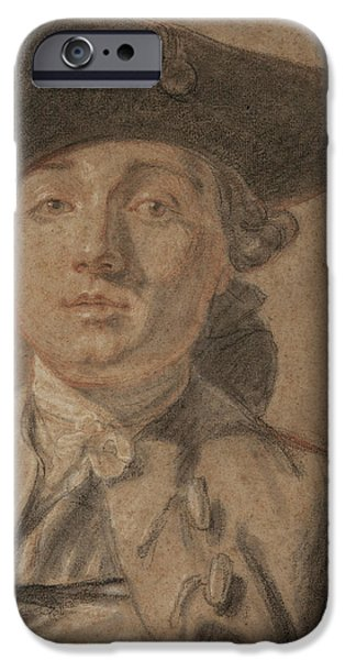Drawings Pastels iPhone Cases - Portrait of a Young Man iPhone Case by French School