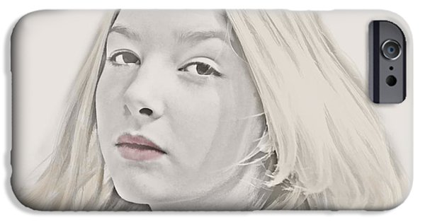 Lips iPhone Cases - Portrait of a Young Woman iPhone Case by Harold Bonacquist