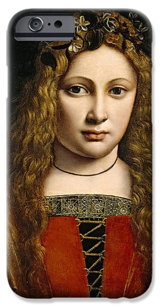 Portrait of a Youth Crowned with Flowers iPhone Case by Giovanni Antonio Boltraffio