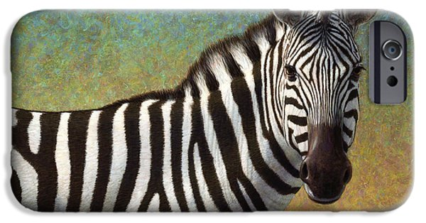 Stripes iPhone Cases - Portrait of a Zebra iPhone Case by James W Johnson