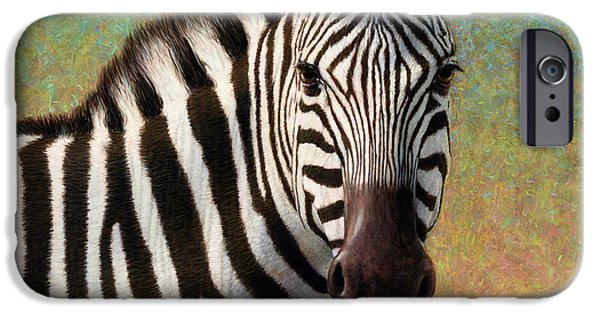 Square Tapestries Textiles iPhone Cases - Portrait of a Zebra - Square iPhone Case by James W Johnson