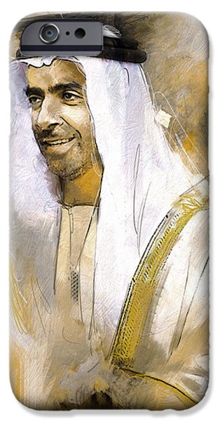 Chairmen iPhone Cases - Portrait of Abdullah bin Zayed Al Nahyen 3 iPhone Case by Maryam Mughal