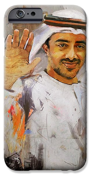 Chairmen iPhone Cases - Portrait of Abdullah bin Zayed Al Nahyen  iPhone Case by Maryam Mughal