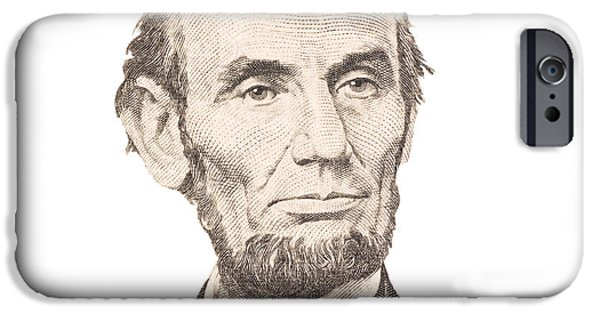 Finance iPhone Cases - Portrait of Abraham Lincoln on White Background iPhone Case by Keith Webber Jr