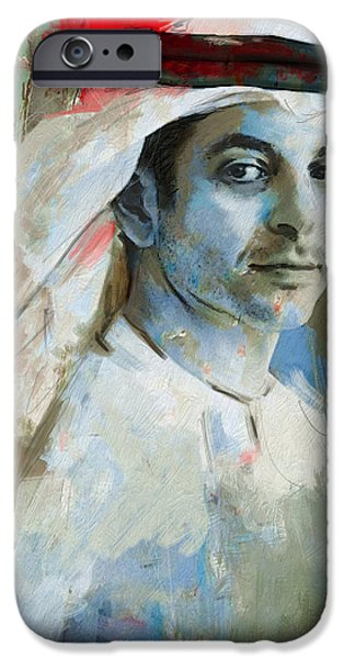 Chairmen iPhone Cases - Portrait of Ahmed bin Zayed Al Nahyan iPhone Case by Maryam Mughal