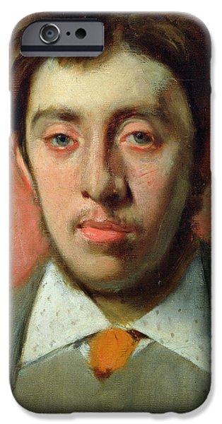 Red Eye iPhone Cases - Portrait of Albert Melida iPhone Case by Edgar Degas