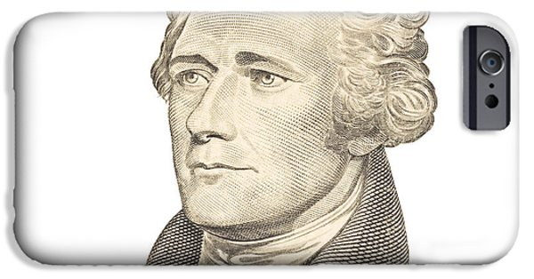 Currency iPhone Cases - Portrait of Alexander Hamilton on White Background iPhone Case by Keith Webber Jr