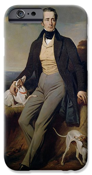 Greyhound Photographs iPhone Cases - Portrait Of Alphonse De Lamartine 1790-1869 1830 Oil On Canvas iPhone Case by Henri Decaisne