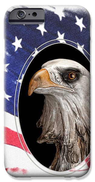 Old Glory iPhone Cases - Portrait of America iPhone Case by Tom Mc Nemar