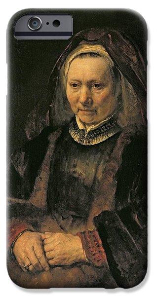 Thinking iPhone Cases - Portrait Of An Elderly Woman, C. 1650 iPhone Case by Rembrandt Harmensz. van Rijn