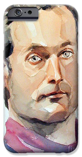 Young Paintings iPhone Cases - Portrait of an elegant guy iPhone Case by Greta Corens