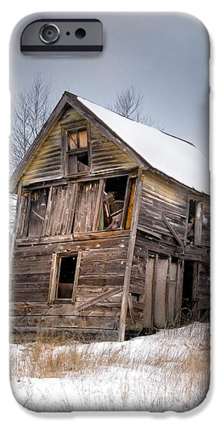 Barns In Snow iPhone Cases - Portrait of an Old Shack - Agriculural buildings and barns iPhone Case by Gary Heller