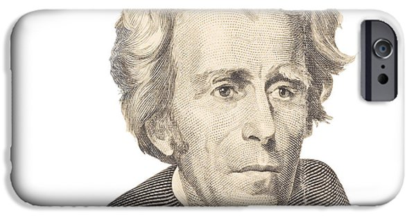 Finance iPhone Cases - Portrait of Andrew Jackson on White Background iPhone Case by Keith Webber Jr