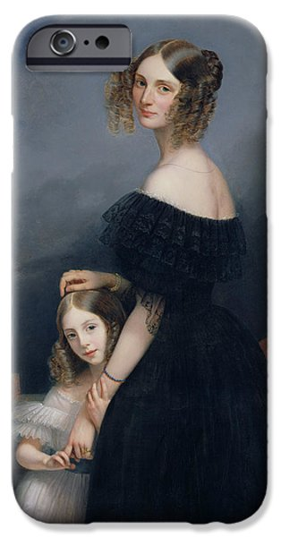 Countess iPhone Cases - Portrait Of Anne-louise Alix De Montmorency, With Her Daughter, C.1840 Oil On Canvas iPhone Case by Claude-Marie Dubufe
