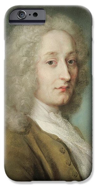 Painter Photographs iPhone Cases - Portrait Of Antoine Watteau 1684-1721 Pastel On Paper iPhone Case by Rosalba Giovanna Carriera
