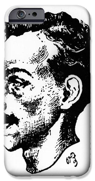 Mustaches iPhone Cases - Portrait of Arthur Rimbaud iPhone Case by Paterne Berrichon