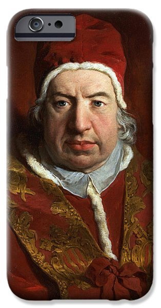 Benedict iPhone Cases - Portrait of Benedict XIV iPhone Case by Pierre Subleyras