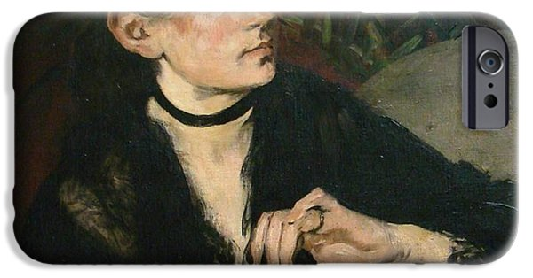 Berthe Paintings iPhone Cases - Portrait of Berthe Morisot with a Fan iPhone Case by Celestial Images