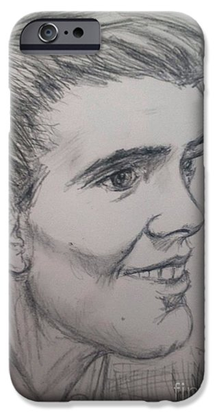 Fury Drawings iPhone Cases - Portrait of Billy Fury iPhone Case by Joan-Violet Stretch