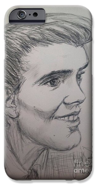 Fury iPhone Cases - Portrait of Billy Fury iPhone Case by Joan-Violet Stretch