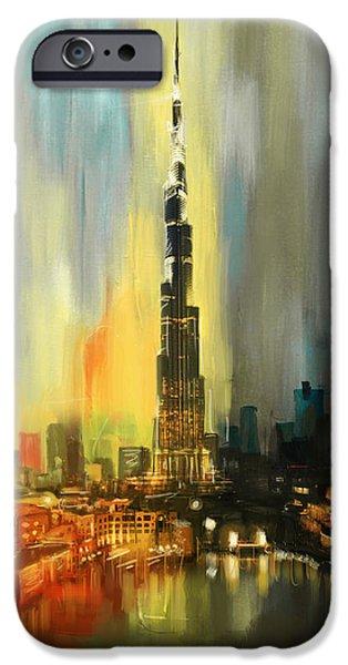Arabian Paintings iPhone Cases - Portrait of Burj Khalifa iPhone Case by Corporate Art Task Force