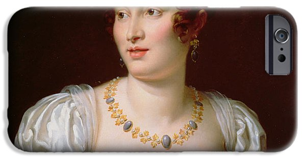 Pearls iPhone Cases - Portrait Of Caroline Murat Oil On Canvas iPhone Case by Francois Pascal Simon, Baron Gerard