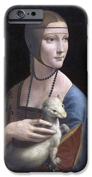 Baptism Paintings iPhone Cases -  Lady with an Ermine.Portrait of Cecilia Gallerani iPhone Case by Leonardo da Vinci