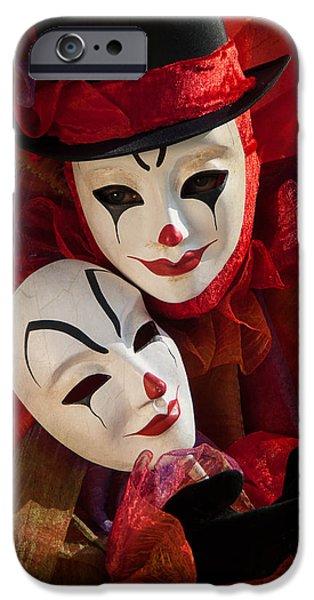 Portrait Of Evil iPhone Cases - Portrait of Clown with Mask iPhone Case by Zina Zinchik