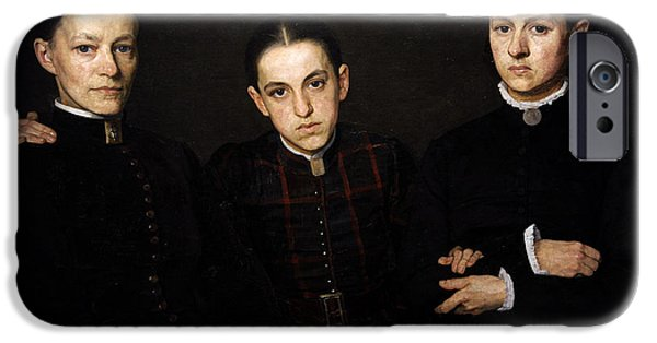 19th Century Photographs iPhone Cases - Portrait Of Cornelia, Clara And Johanna Veth, 1885, By Jan Veth 1864-1925 iPhone Case by Bridgeman Images