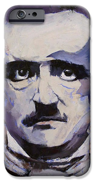 Michael iPhone Cases - Portrait of Edgar Allan Poe iPhone Case by Michael Creese
