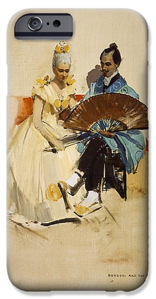 Japanese School iPhone Cases - Portrait Of Edward Arthur Walton With His Fiancee Helen Law As Hokusai And The Butterfly, 1889 Oil iPhone Case by Sir John Lavery