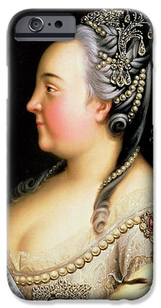 Gray Hair iPhone Cases - Portrait of Elizabeth Petrovna Empress of Russia iPhone Case by Heinrich Buchholz
