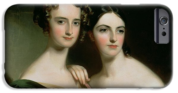 Sisters iPhone Cases - Portrait Of Ellen And Mary Mcilvaine, 1834 Oil On Canvas iPhone Case by Thomas Sully
