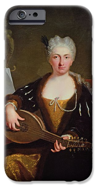 Lute iPhone Cases - Portrait Of Faustina Bordoni, Handels Singer iPhone Case by Bartolommeo Nazari