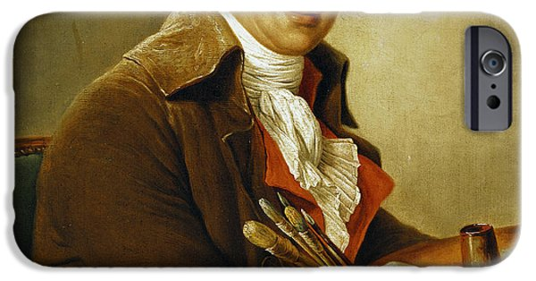 Portrait Of Old Man iPhone Cases - Portrait of Francois-Andre Vincent iPhone Case by Adelaide Labille-Guiard