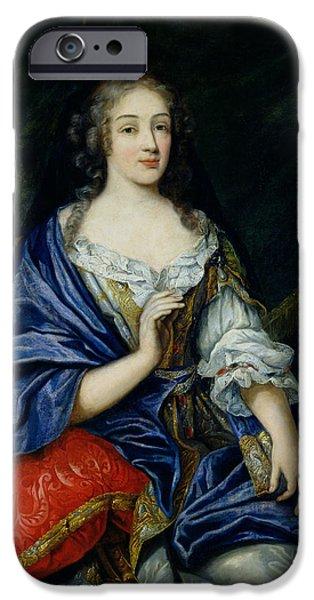 Duchess iPhone Cases - Portrait Of Francoise-louise De La Baume Le Blanc 1644-1710 Duchesse De Vaujour, Called iPhone Case by Jean Nocret