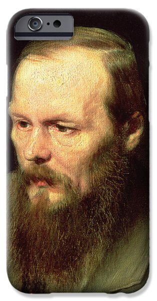 Beard iPhone Cases - Portrait Of Fyodor Dostoyevsky 1821-81 1872 Oil On Canvas Detail Of 67923 iPhone Case by Vasili Grigorevich Perov