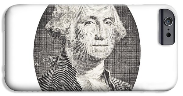George Digital Art iPhone Cases - Portrait of George Washington on White Background iPhone Case by Keith Webber Jr