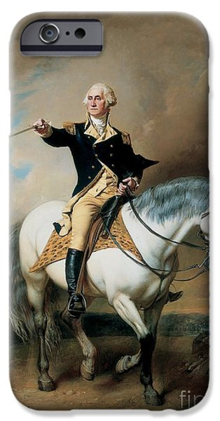 Politician iPhone Cases - Portrait of George Washington Taking The Salute At Trenton iPhone Case by John Faed