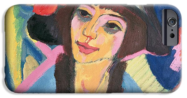 Hat iPhone Cases - Portrait of Gerda iPhone Case by Ernst Ludwig Kirchner