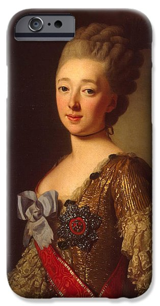 Duchess Paintings iPhone Cases - Portrait of Grand Duchess Natalia Alexeyevna iPhone Case by Alexander Roslin