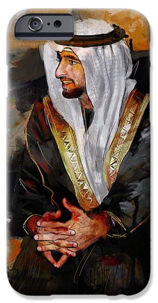Chairmen iPhone Cases - Portrait of Hamdan bin Mohammad bin Rashid al Maktoum 2 iPhone Case by Maryam Mughal