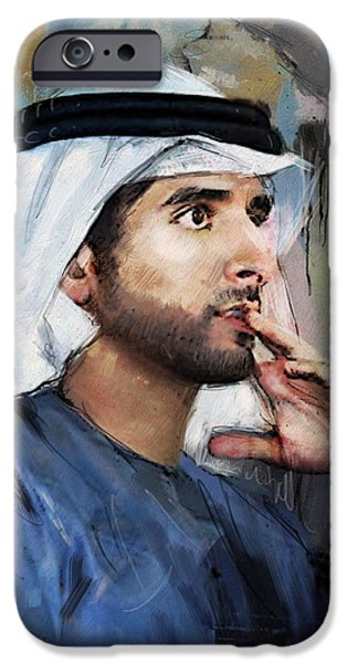 Chairmen iPhone Cases - Portrait of Hamdan bin Mohammad bin Rashid al Maktoum iPhone Case by Maryam Mughal