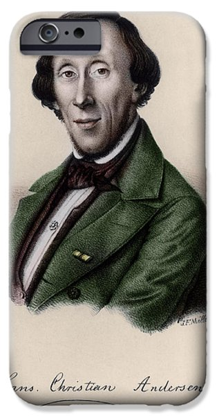 Author iPhone Cases - Portrait Of Hans Christian Andersen 1805-1875 Engraving Later Colouration iPhone Case by Johan Frederick Moller
