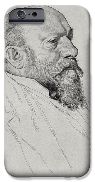Portraits Drawings iPhone Cases - Portrait of Hans Richter iPhone Case by William Strang