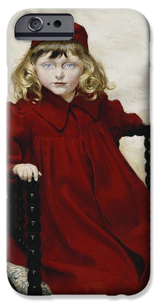 Hairstyle iPhone Cases - Portrait Of Harriet Fischer, Small Three-quarter Length, Wearing A Red Dress, 1896 Oil On Canvas iPhone Case by Paul Fischer