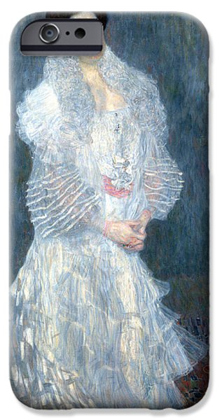 Woman In A Dress iPhone Cases - Portrait of Hermine Gallia iPhone Case by Gustive Klimt