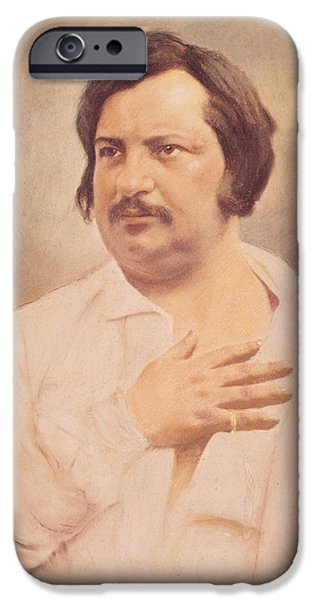 Famous Figures iPhone Cases - Portrait of Honore de Balzac iPhone Case by French School