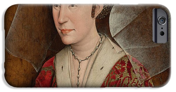 Duchess iPhone Cases - Portrait of Isabella of Portugal  iPhone Case by Workshop of Rogier van der Weyden