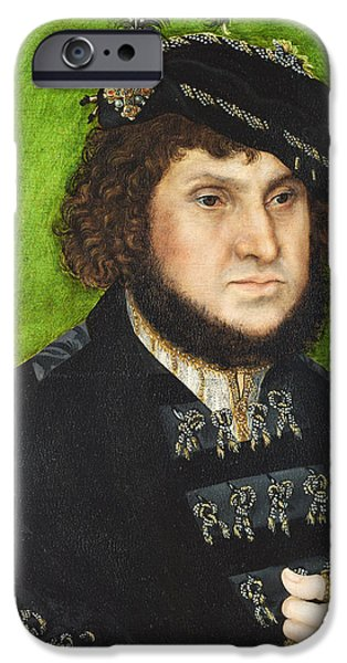 Steadfast iPhone Cases - Portrait of Johann the Steadfast iPhone Case by Lucas Cranach the Elder